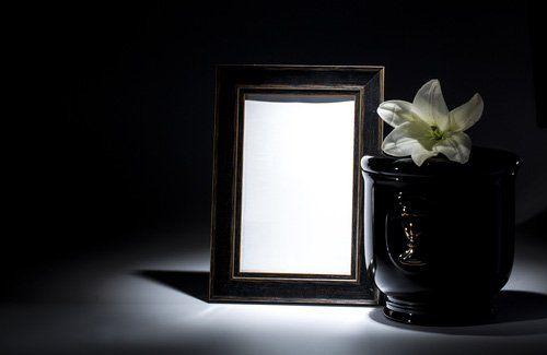 un'urna con un fiorie e uno specchio di fianco su uno sfondo nero