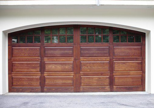 Custom Double Residential Garage Doors Arched Top