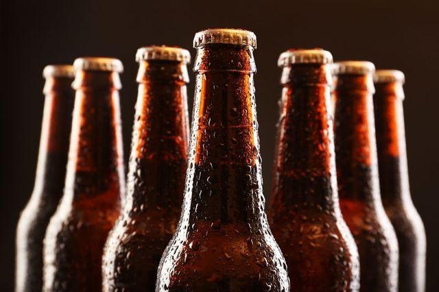 Glass bottles of beer