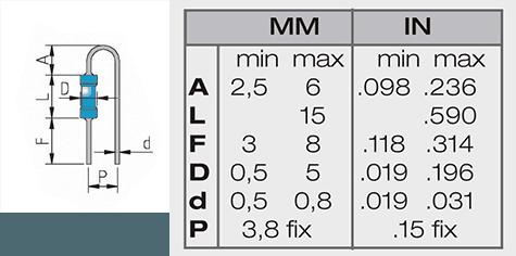 misure versione passo 3,8 mm