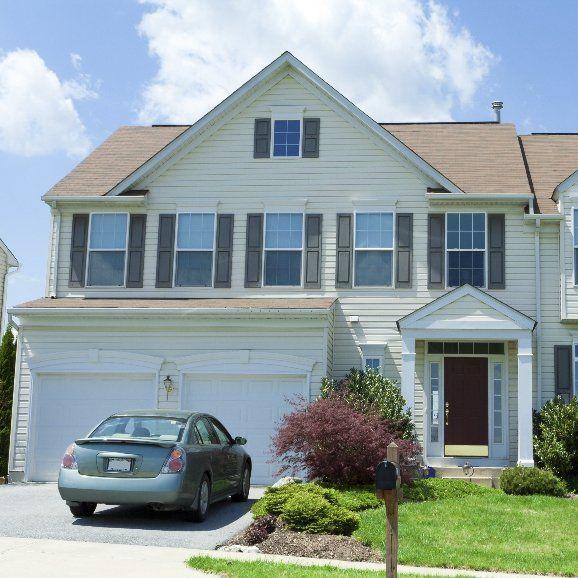 House with stylish garage door