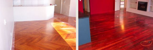 Two examples of timber floor restoration in Tauranga