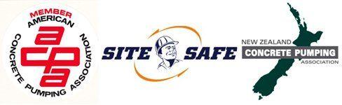 member of american concrete pumping association, site safe, concrete pumping