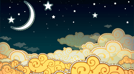 Wallpaper for a child's room, decorated with moon, stars and yellow clouds