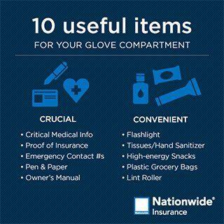 Auto Insurance Hampstead & Leland, NC - useful glove compartment items