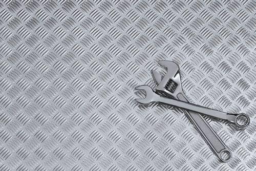 checkerplate aluminium and adjustable wrenches