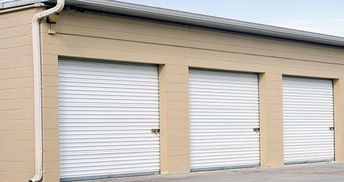 Storage units at a self storage facility & East