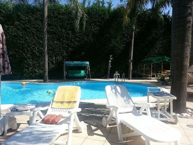 vista della piscina con sdraio, siepi, palme e si intravede un ombrellone