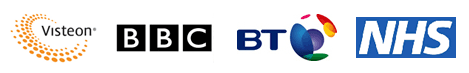 Visteon BBC BT NHS logos