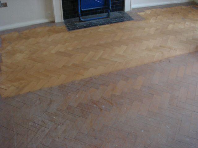 a partly refurbished parquet floor