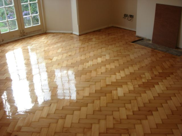 stripped, restored and resealed wood floor