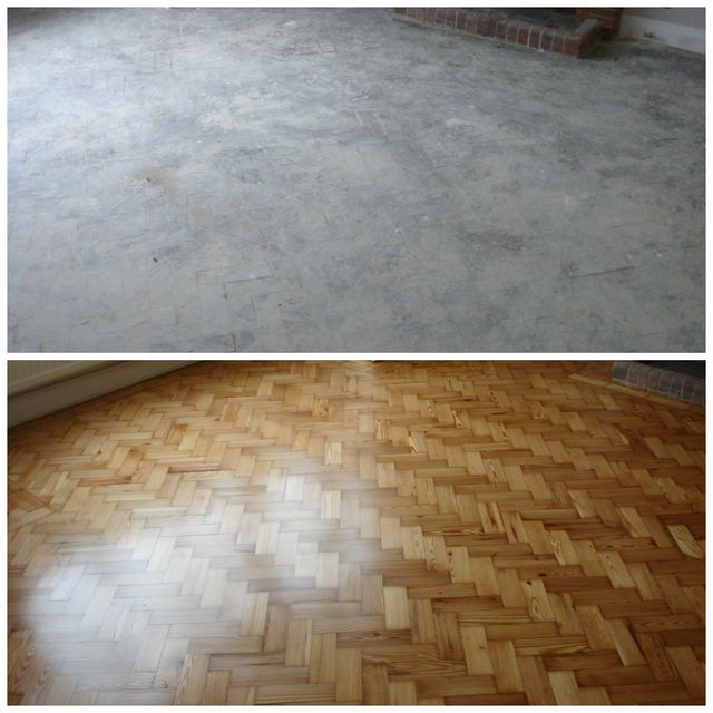 parquet floor before and after refurbishment