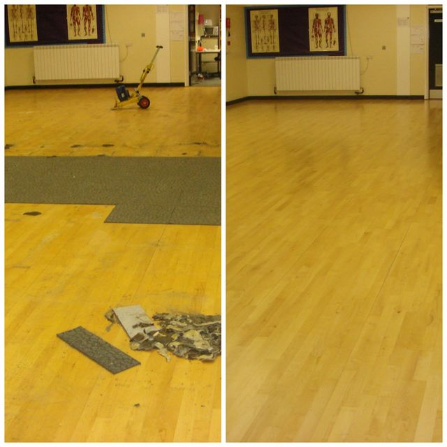 damaged wood floor before and after repairs