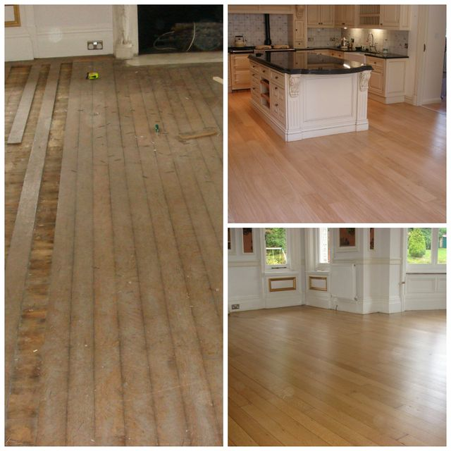 wood flooring showing loose planking and finished product