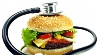 un hamburger con uno spetoscopio