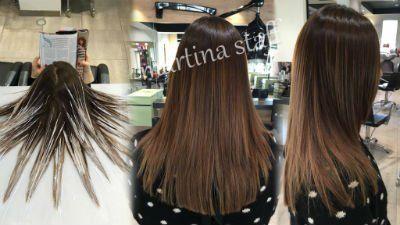 trattamento per capelli, prima e dopo