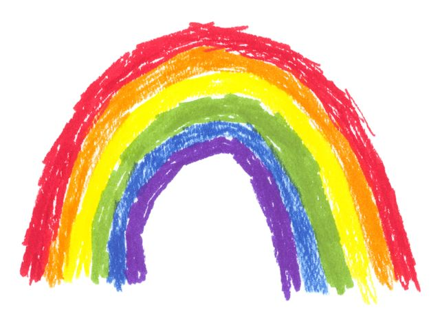 Children's drawing of a rainbow