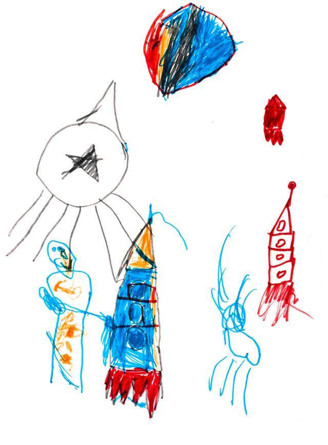 Children's drawing of rocket ships in felt pens