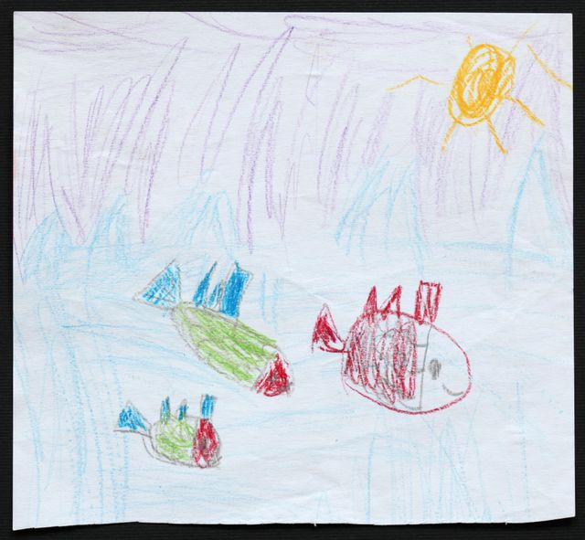 Children's drawing of fish under the sea