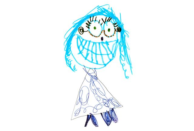 Children's drawing of a girl with blue hair