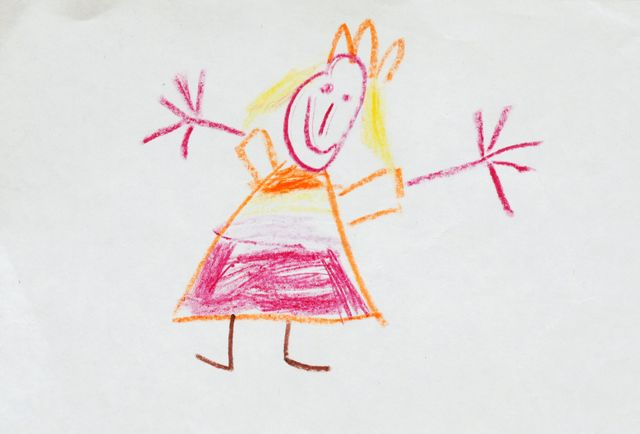 Children's drawing of a girl in pink dress