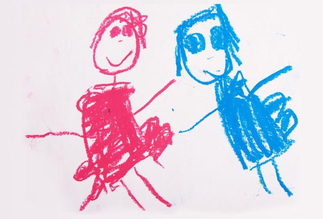 Crayon drawing of man and woman