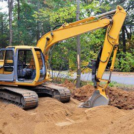 Backhoe in the construction site