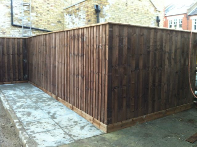 Wooden panel fencing