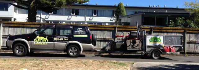 Our truck and lawn mower trailer in Hamilton