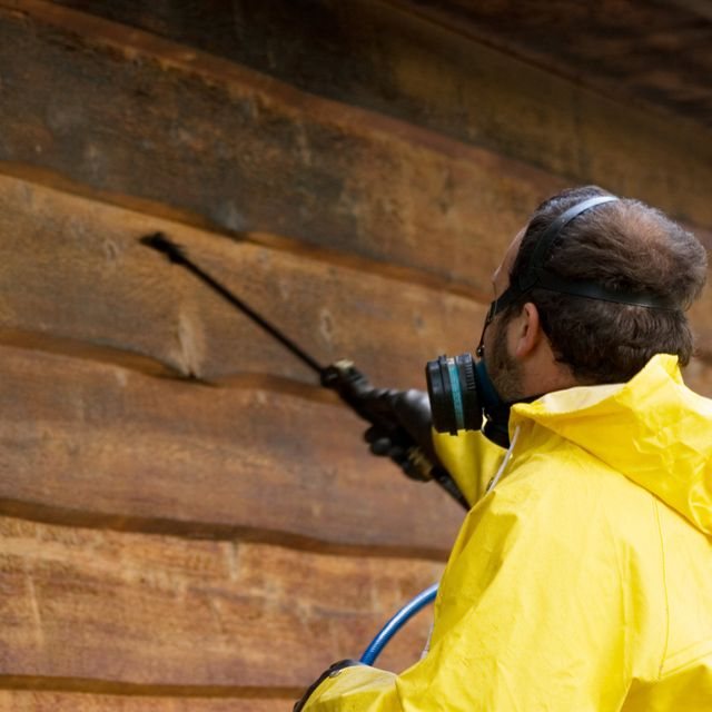 A cleaner from Roth Pressure Cleaning Services cleaning the wooden wall of a building