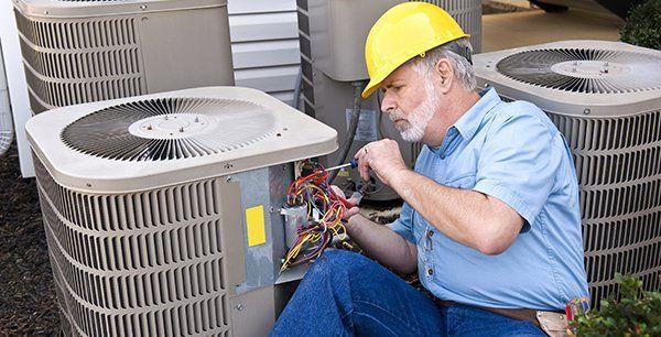 Air conditioner repair under progress