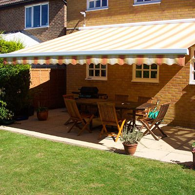 awning shading a patio