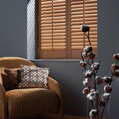 wooden shutters in a room