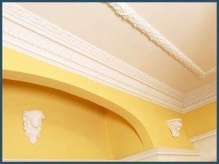 soffitto imbiancato di bianco e giallo