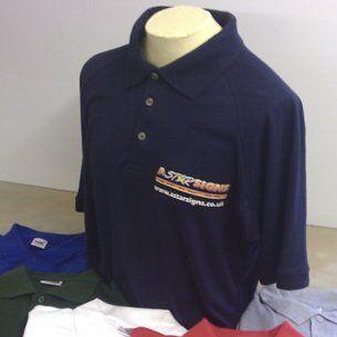 blue collared tshirt