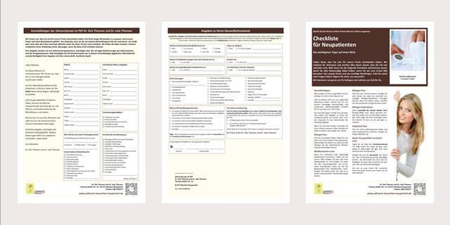 Anmeldebogen Zahnarztpraxis im PEP, München Neuperlach