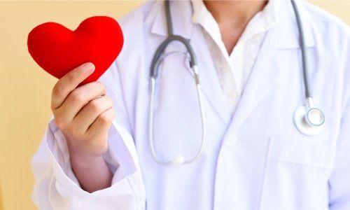 un medico che tiene in mano un oggetto a forma di cuore