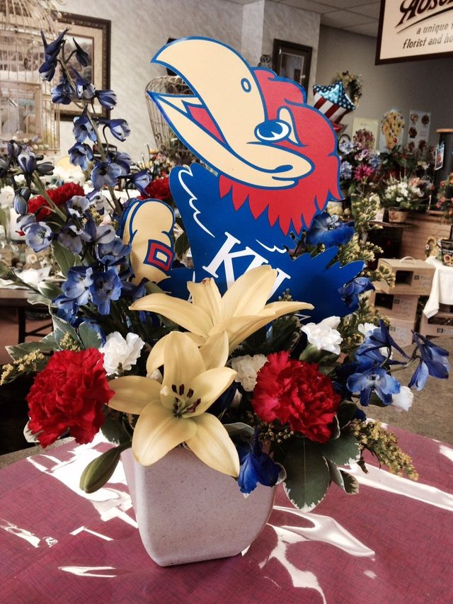 KU Flower basket, KU flower arrangement, Jayhawk flower plant