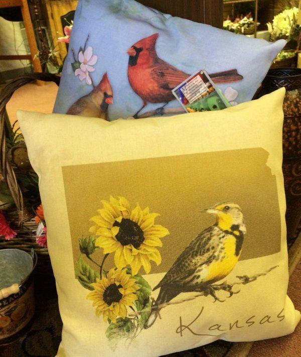 Throw pillows, Bird pillows, kansas pillows, cardinal bird pillows