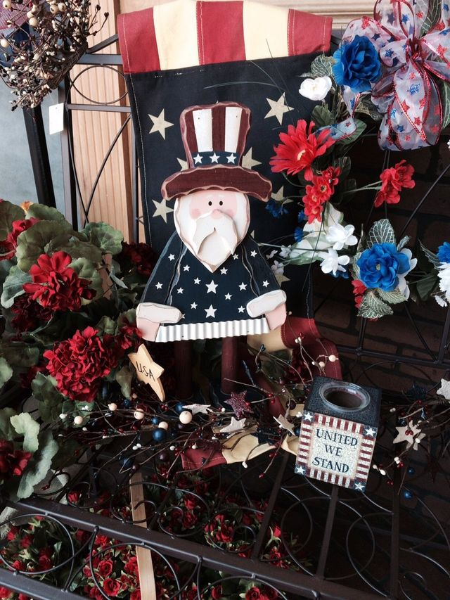 Patriotic flowers, U.S. Flag art, uncle sam, United States gifts,