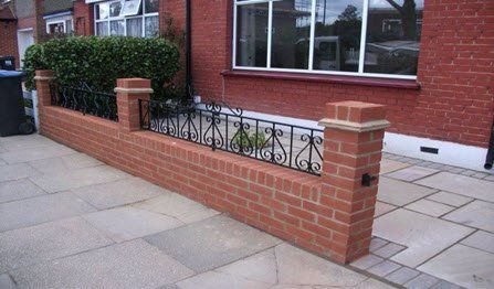 front garden brick wall with railings & gate