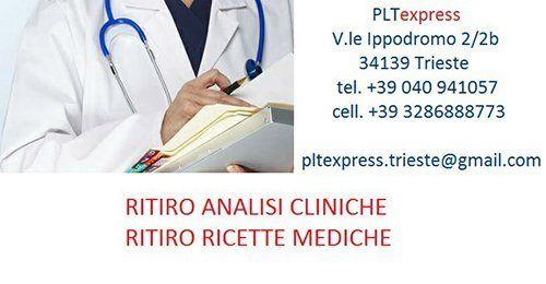 Plt Express per ritiro analisi cliniche e ritiro ricette mediche