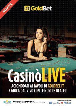 volantino GoldBet con una donna seduta dietro a un tavolo da gioco