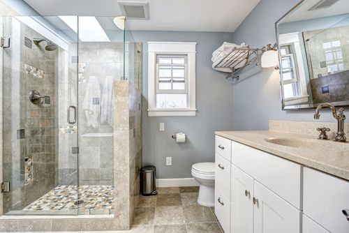 clean light blue bathroom