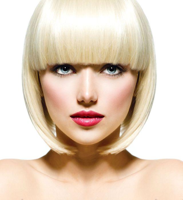 Blonde girl with nice haircut