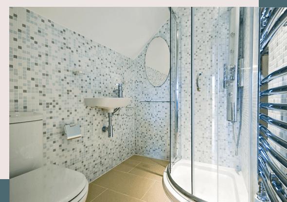 bathroom with blue tiles