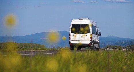 luxurious white minibus