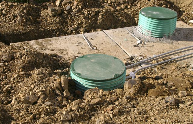 Installation of a septic tank by one of our septic systems contractors in Bell, FL