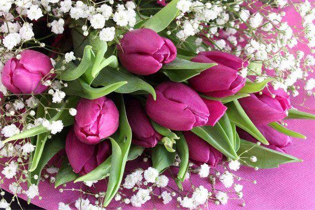 Bouquet di tulipani fucsia e fiori bianche
