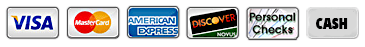 Payment Icons - Visa, Mastercard, AMEX, Discover, Check, Cash